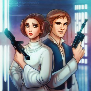 Star Wars: Leia and Han by daekazu