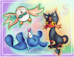 Rowlet Litten and Popplio by Animechristy