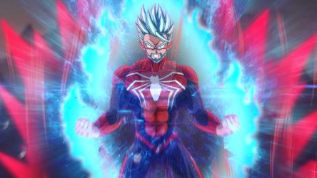 Spiderman Super Saiyan blue Kaioken (commission) by merimo-animation
