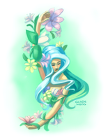 flowers and a girl by lyseeart
