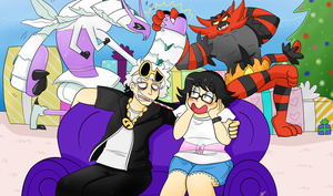 Commission - Guzma and Trainer by NamiOki