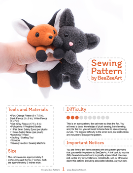 Fox and Cat Plushie Sewing Pattern by BeeZee-Art