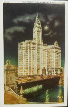 Vintage Chicago - The Wrigley Buildings by Night by Yesterdays-Paper