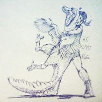 Girl and Her Pet Raptor - Blue Ink by XStreamChaosOfficial