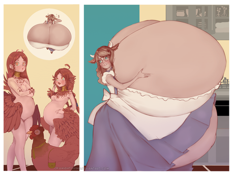 Moo-ternity - 23: The chicken sisters by OfaMightDivine