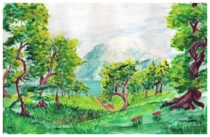 Commission for Faoula16 - Forest lake landscape by EleLibe