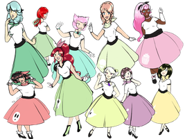 Fashion Time! Poodle Skirts by luigirules64