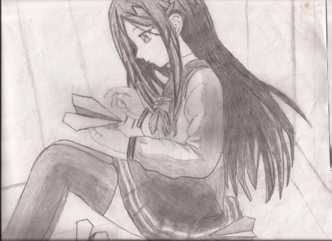 Anime Girl Making Paper Airplane by prettymuffins