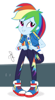 MLP EG Vector - Rainbow Dash sitting (W/ bench) by ilaria122