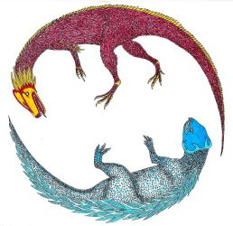 Dancing Dragons coloured by Sinande