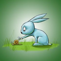 Bunny and snail by feawen