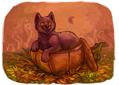 Pumpkincat by Spartan-Cheetah