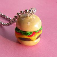 Yummy Burger Necklace by AsianBunni
