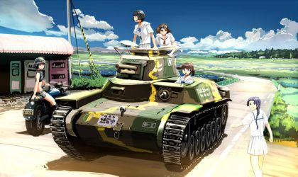 type 97chi-ha with junior high school girls by Takeshi-NOGAMI