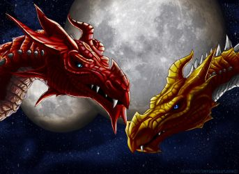 Two Dragons and Two Moon by sheiku92