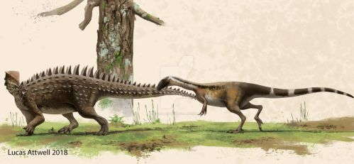 Emausaurus and ceratosaur by Lucas-Attwell