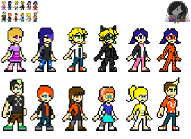 LadyBug Remastered characters In 8 Bits by blonemon