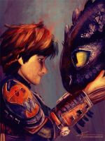 Hiccup and Toothless by apfelgriebs
