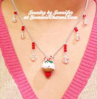 Candy Cane Cupcake Necklace by xlilbabydragonx
