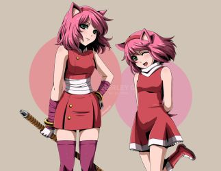 Amy Rose x 2 by Selene-Galadriel