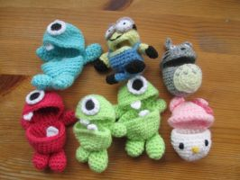 Easter Egg Cosies: Monsters, Minion, Totoro, Kitty by fourthimbles