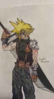Cloud Strife pencil drawing colored by MosakeJarakio
