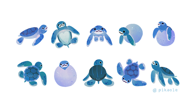 Baby sea turtles by pikaole