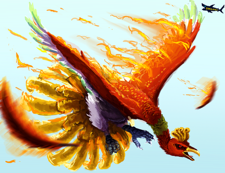 Semi realistic Ho-Oh by canned-sardines