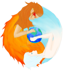 Yin and Yang :.: Fire and Ice by Rustyfur
