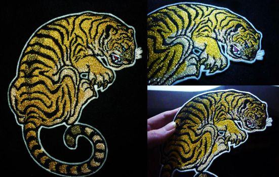 SOLD - Golden Tiger ~Iron-on patch by goiku