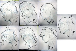 SDCC 2012 head sketches 3 by E-V-IL