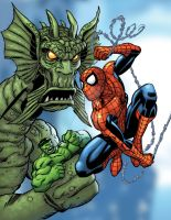 Spider and Hulk vs. Fin Fang Foom by bennyfuentes