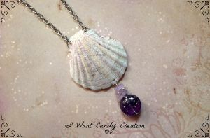 HANDMADE - Shell And Amethyst by IWantCandyCreation
