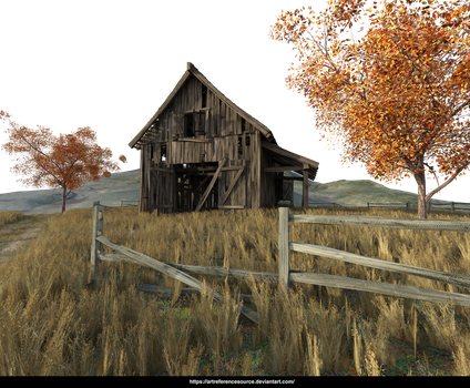 Free Stock PNG:  Barn Scene, add your own sky by ArtReferenceSource