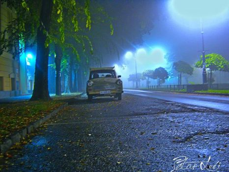 Foggy night in Subotica by ThePera