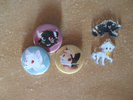 some charms/badges for sale ( OPEN) by Eucalyptus-splash