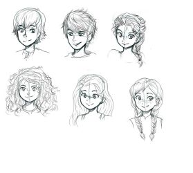 Big Four with Elsa and Anna (or RotBTFD?) doodles by HaruYuzuki