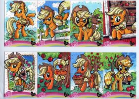 My Little Pony Applejack sketch cards for IDW Ltd by Kapow2003