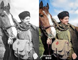 WW2 A Soviet female medical orderly and her horse, by jecinci