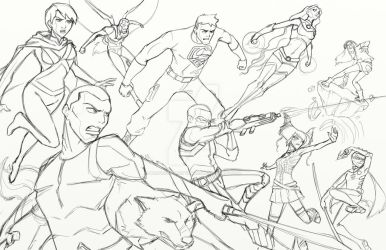 Young Justice/Teen Titans crossover pt2 rough by BrotherToastyCakes
