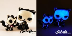 Glow in the dark Skelly Kitties custom LPS by thatg33kgirl