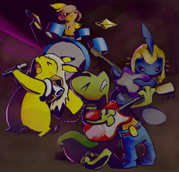 Pokemon in a band by wee-axolotl