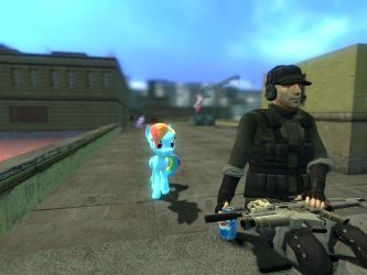 Rainbow dash and mercenaries soldier 2 by Digitalkiller87