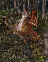 Jungle Girl Tiger Fight 01 by espindav
