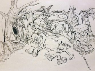 Inktober day 7: Exhausted (Crash Bandicoot) by forgetme000