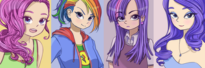 Some humanised versions of ponies by 0cilo