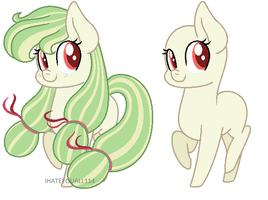 Watermelon Pony and Base (Contest Prize) by IHATEYOUALL114