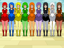 Color Wheel Senshi redone by TheWalrusclown
