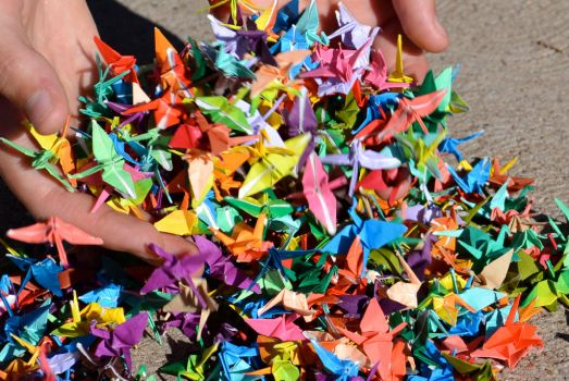 origami cranes by ze1a13