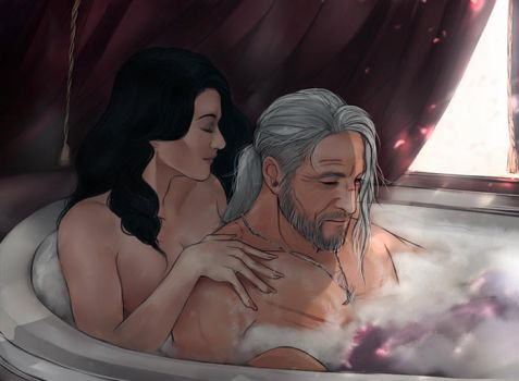 Geralt and Yennefer by Everybery